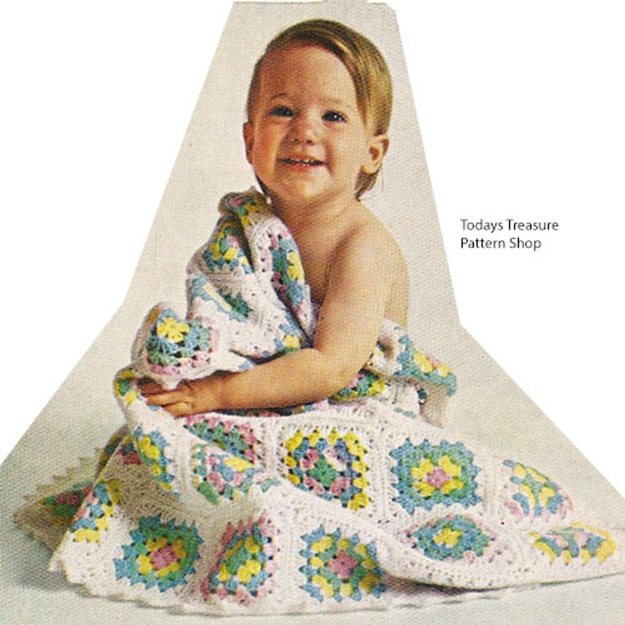 Granny Block Crochet Baby Blanket Pattern