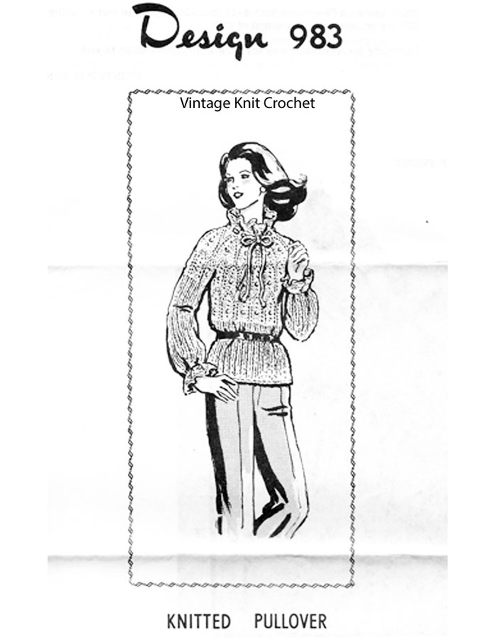 Knitted Long Sleeve Blouse Pattern, Mail Order 983