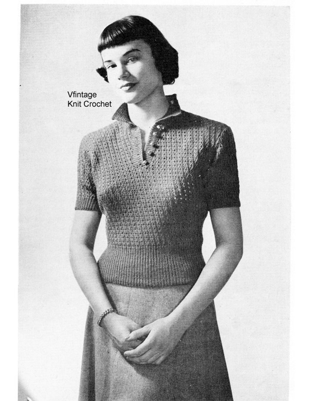 Knitted Top Pattern, Vintage Eyelet Blouse