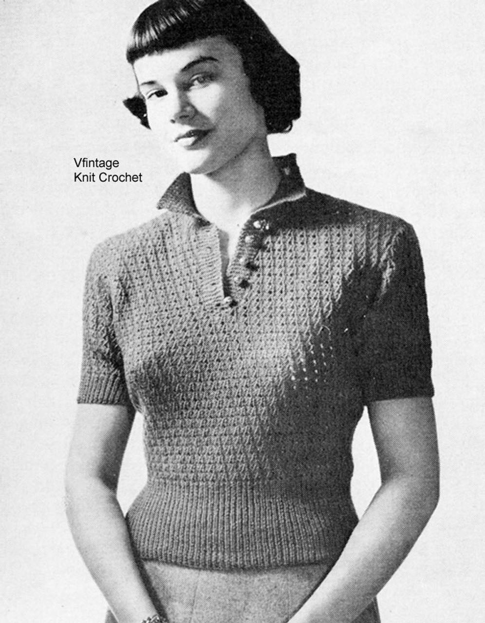 Knitting Short Sleeve Top Pattern, Vintage 1947