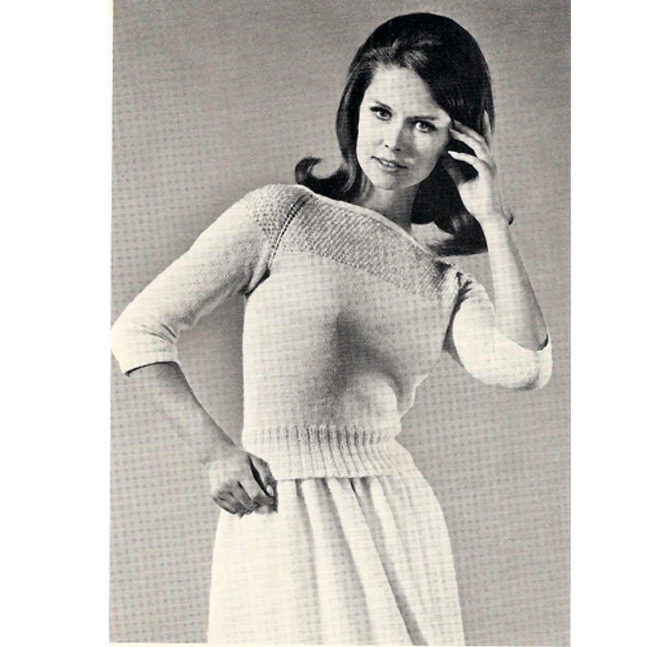 Knitted Sweater with Sequin Yoke Pattern