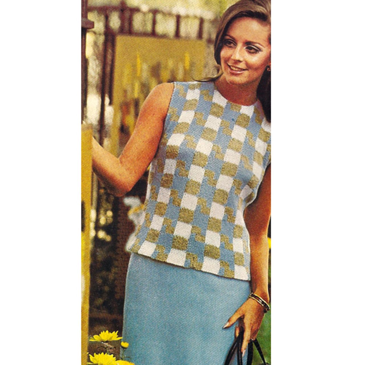 Plaid Shell Knitting Pattern, Semi-Fitted