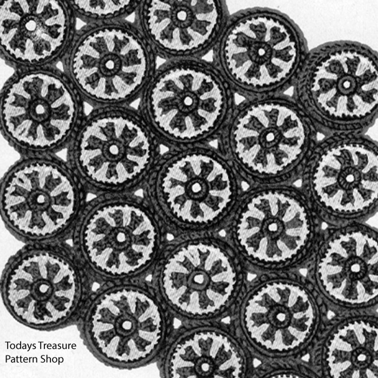 Crocheted Bottle Cap Hots Mats Pattern, Vintage 1960s