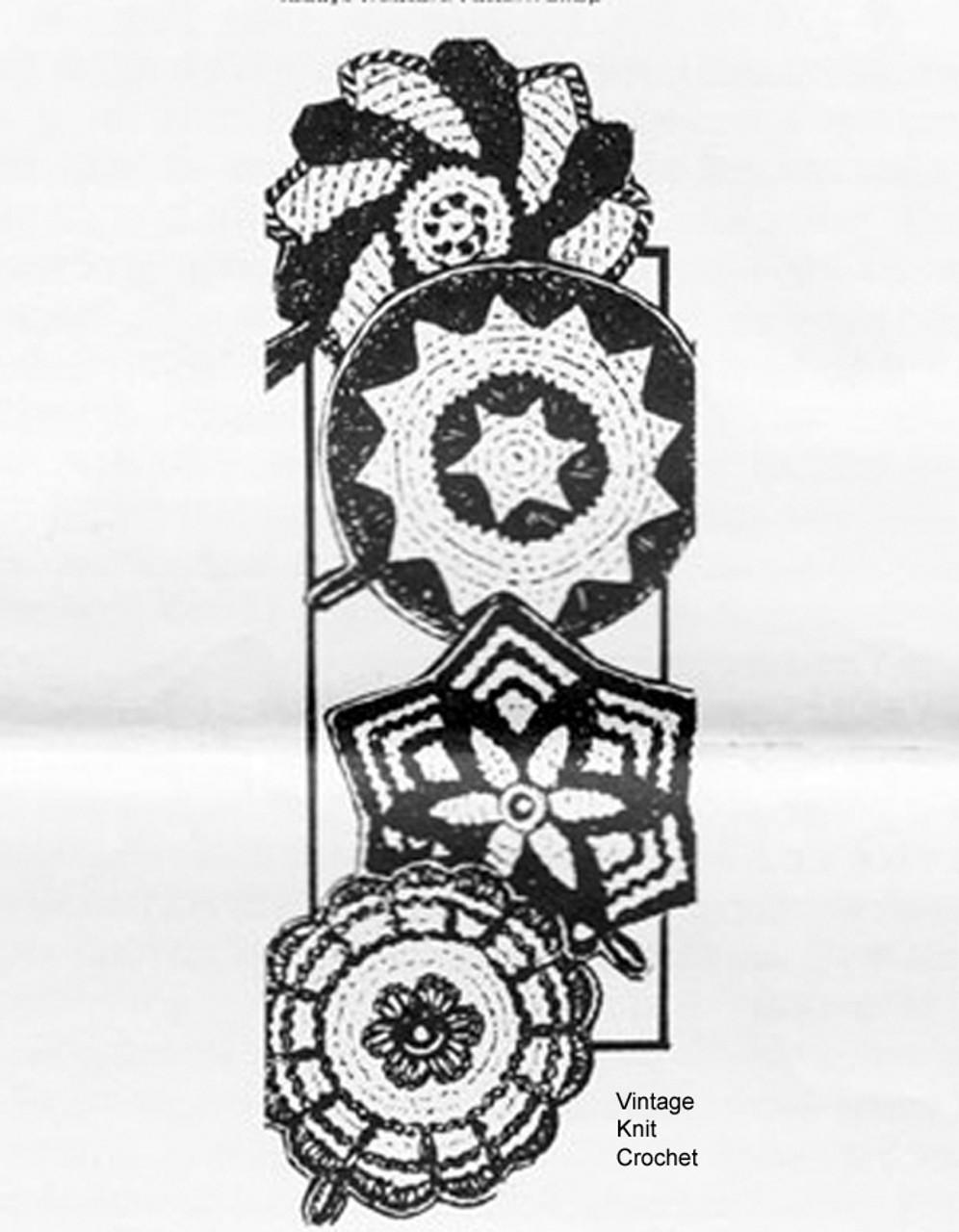 Mail Order Crochet Potholders Pattern, Laura Wheeler 610