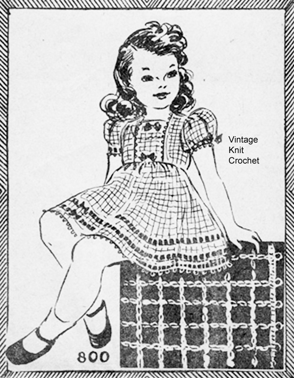 Girls Crochet Dress Pattern, Vintage 1942, Needlework Bureau 800, Mail Order