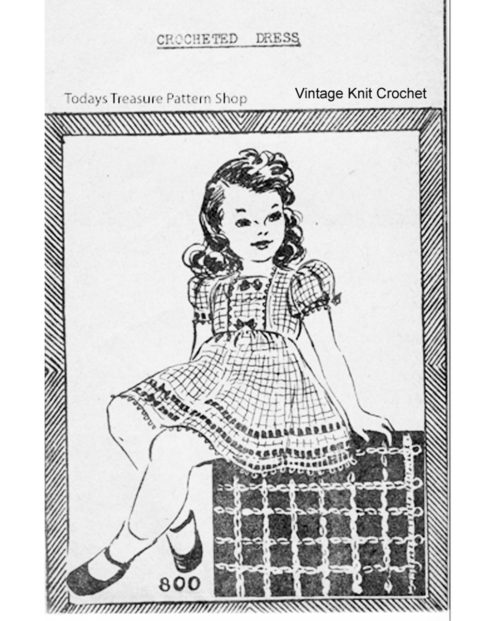 Girls Puff Sleeve Crochet Dress Pattern, Peggy Roberts 800