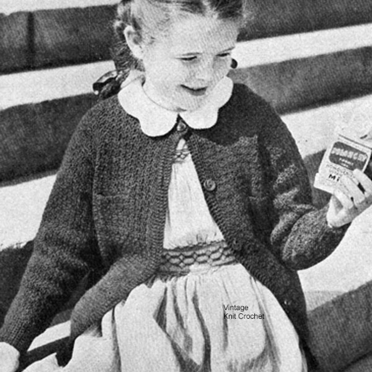 Childs Crochet Cardigan Pattern Vintage 1950s