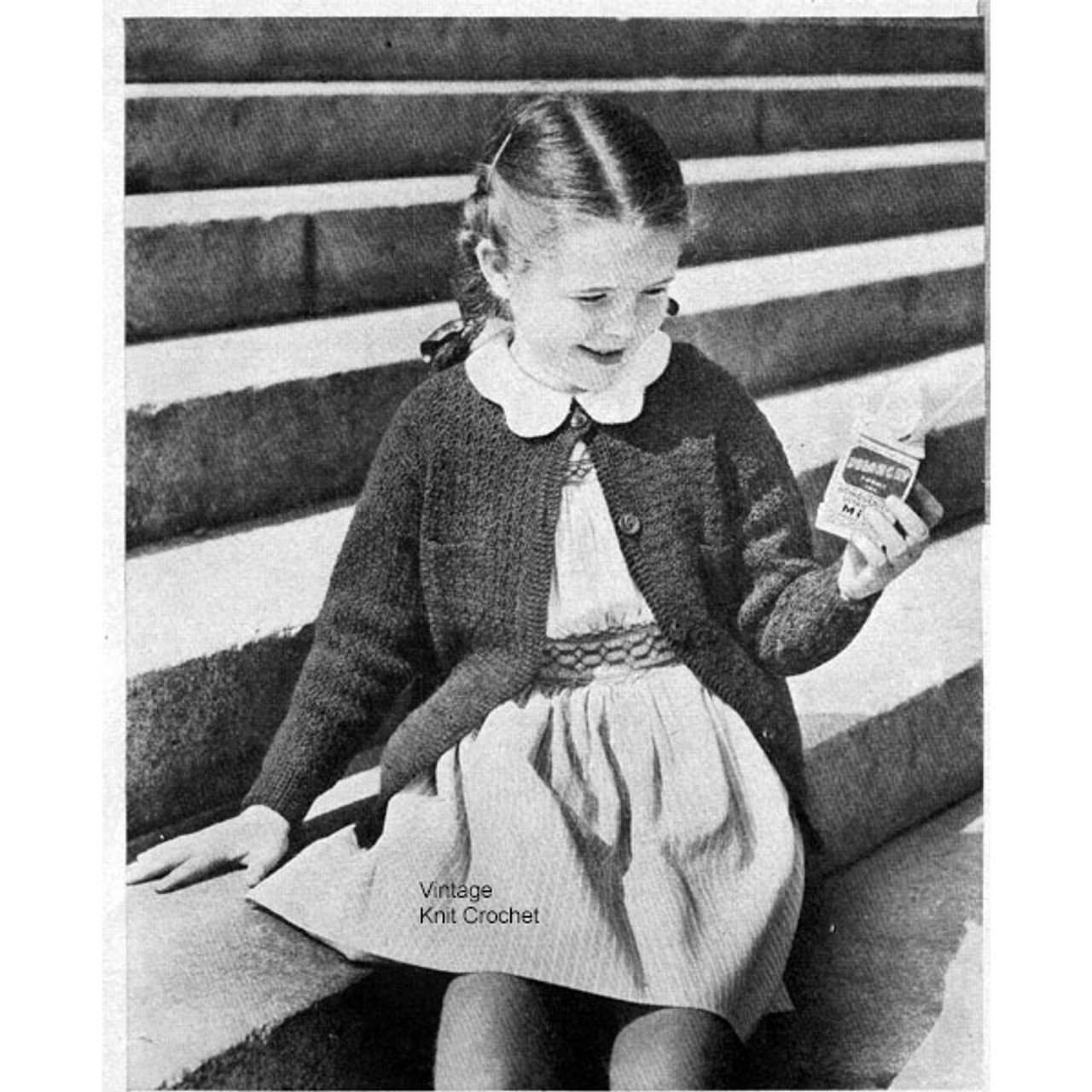 Girls Crochet Cardigan Pattern, Vintage 1950s