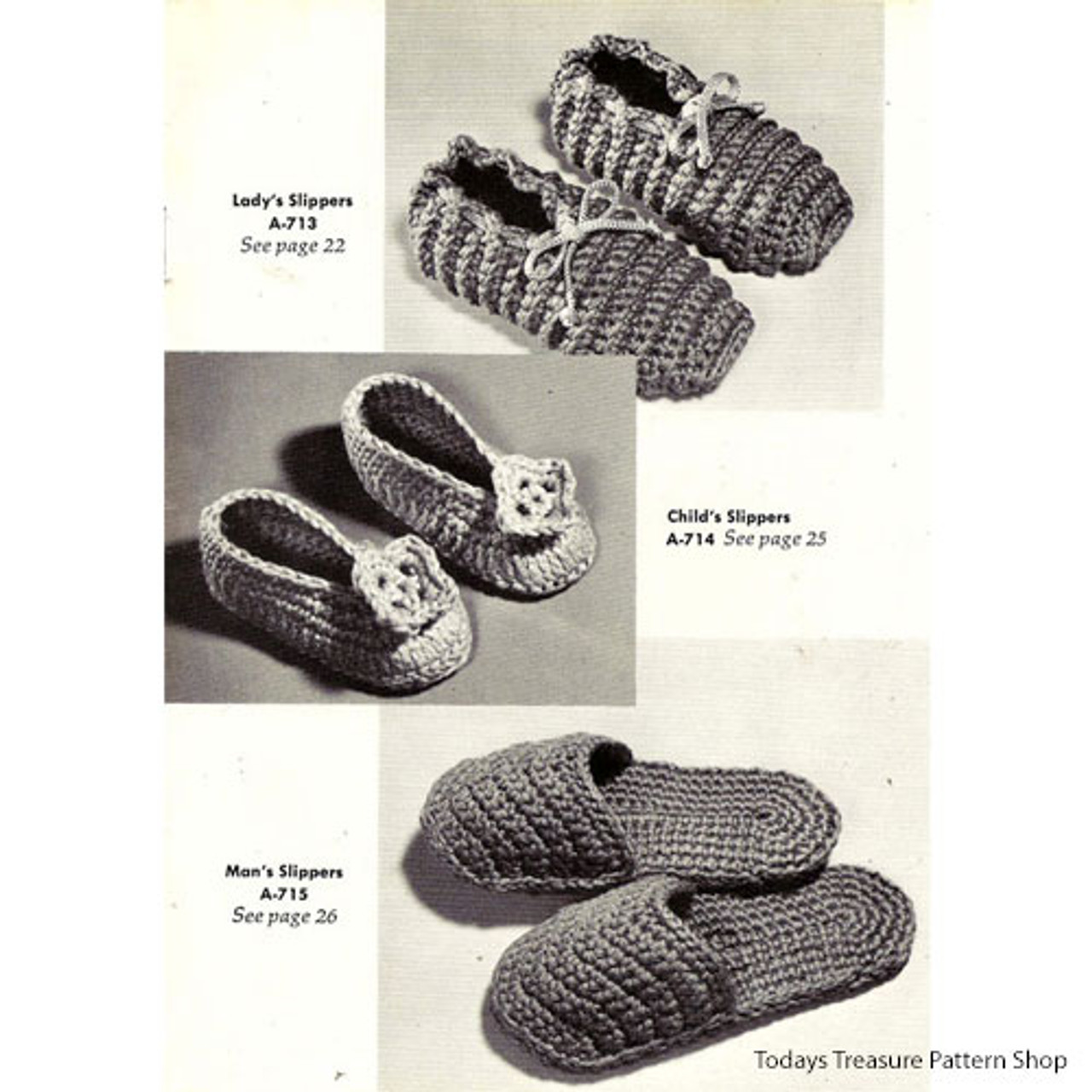 Crocheted Slippers and Scuffs Pattern