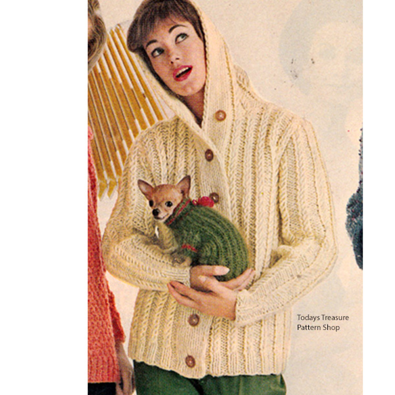 Hooded Ribbed jacket Knitting Pattern, Vintage 1960s