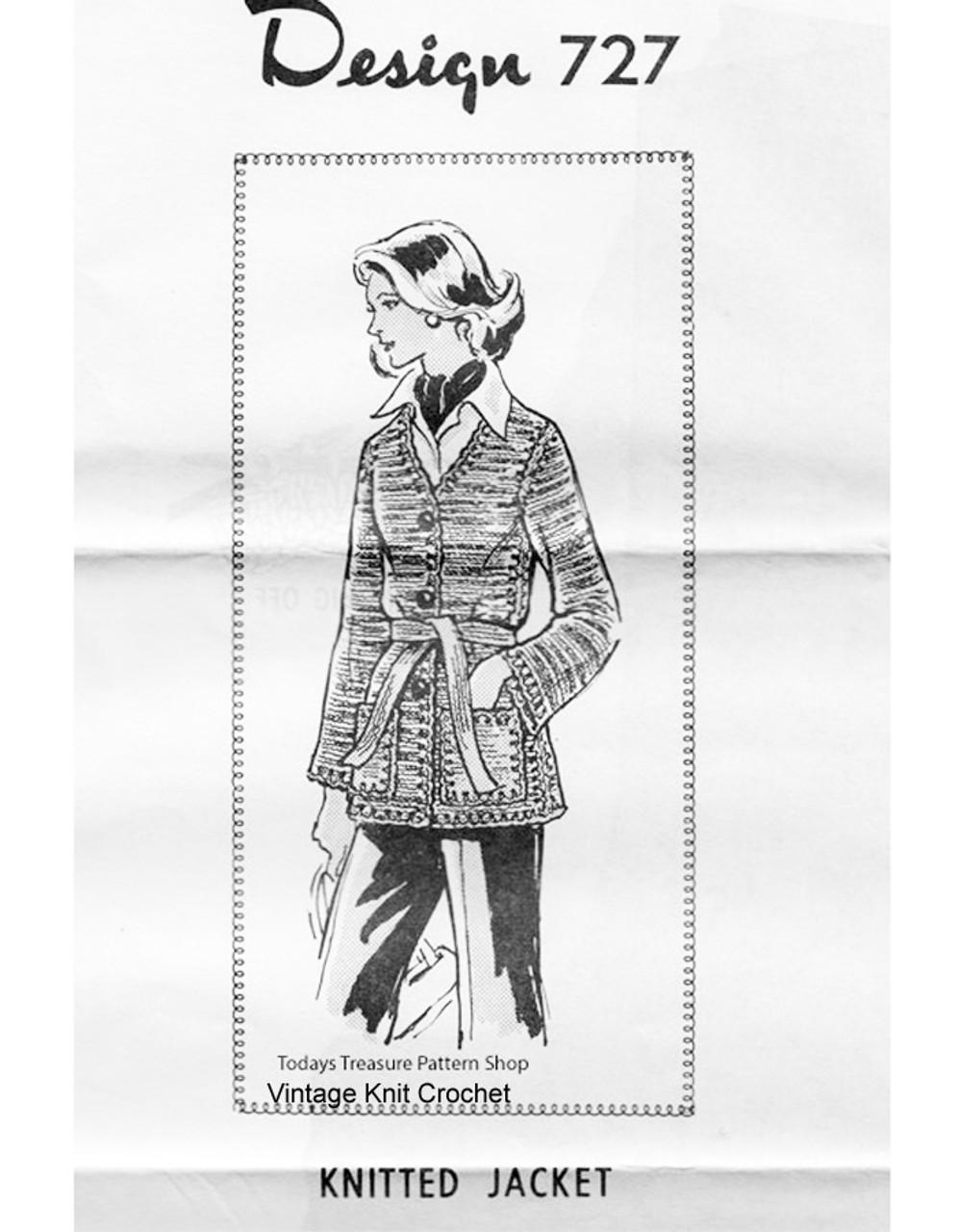 Long Cardigan Knitting Pattern, belted, Mail Order 727