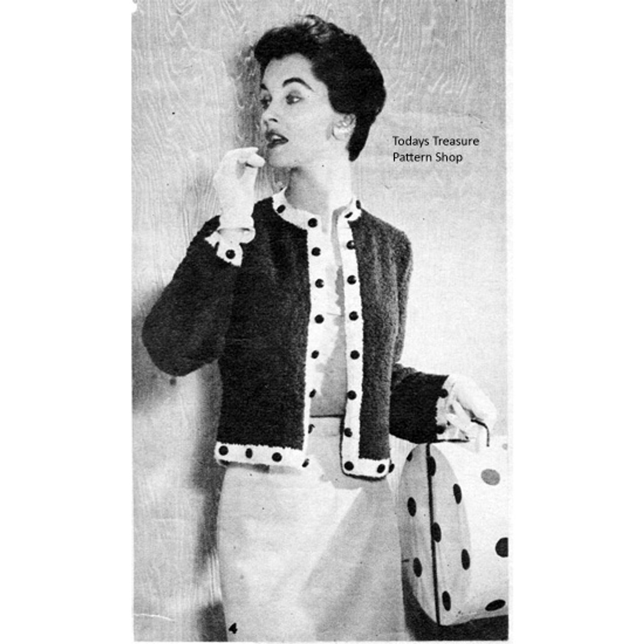 Knitted Jacket Pattern with Contrast Button Trim