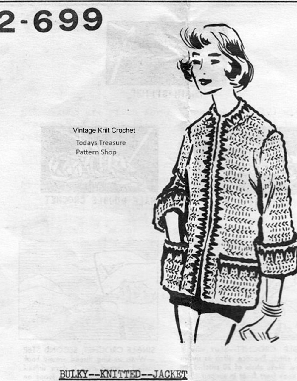 Long Bulky Knitted Jacket Pattern, Mail Order 2699