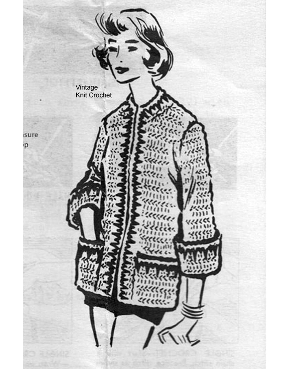 Long Bulky Crochet Jacket Pattern, Anne Cabot 2699