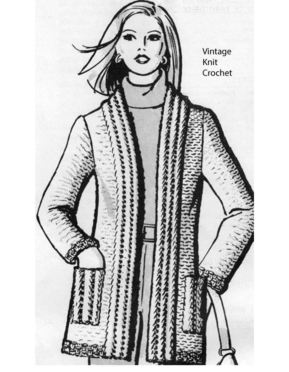 Womans Knitted Cardigan Pattern, Anne Cabot 2626