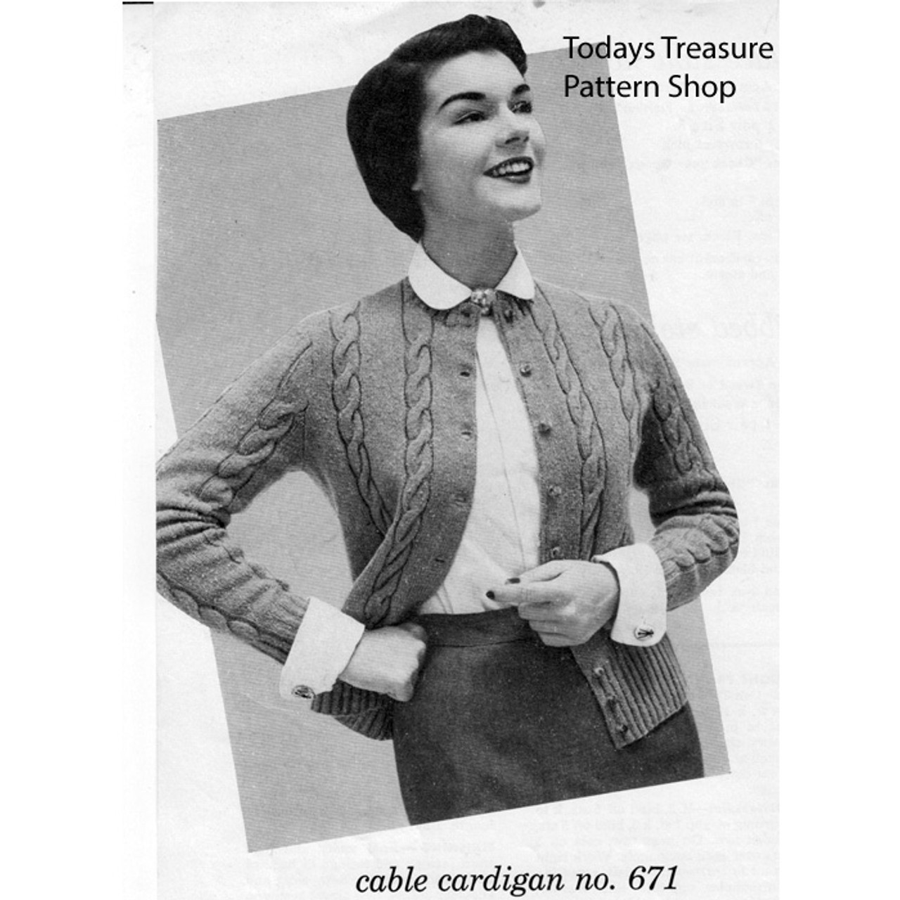 Vintage Cable Cardigan Sweater Knitting Pattern