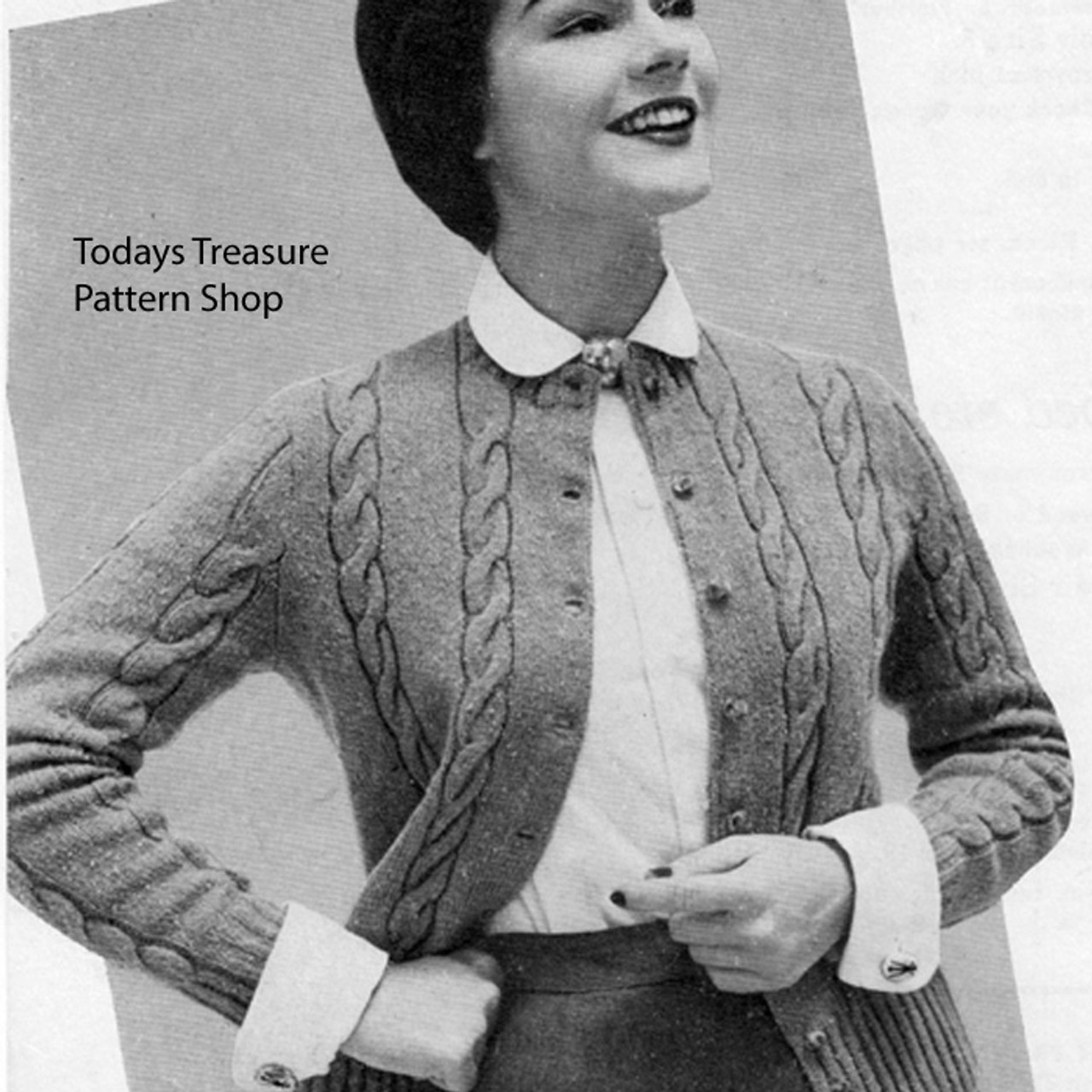 Misses Knitted Cable Jacket Pattern