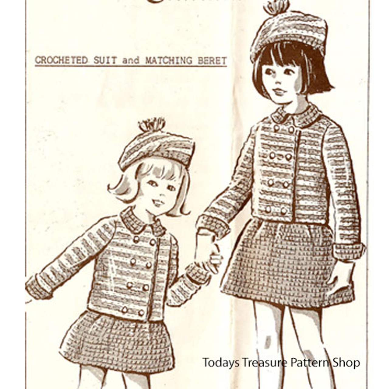 Girls Crochet Double Breasted Jacket with Skirt Pattern