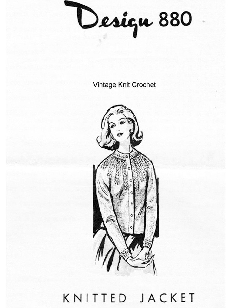 Cable Jacket Knitting Pattern Design 880