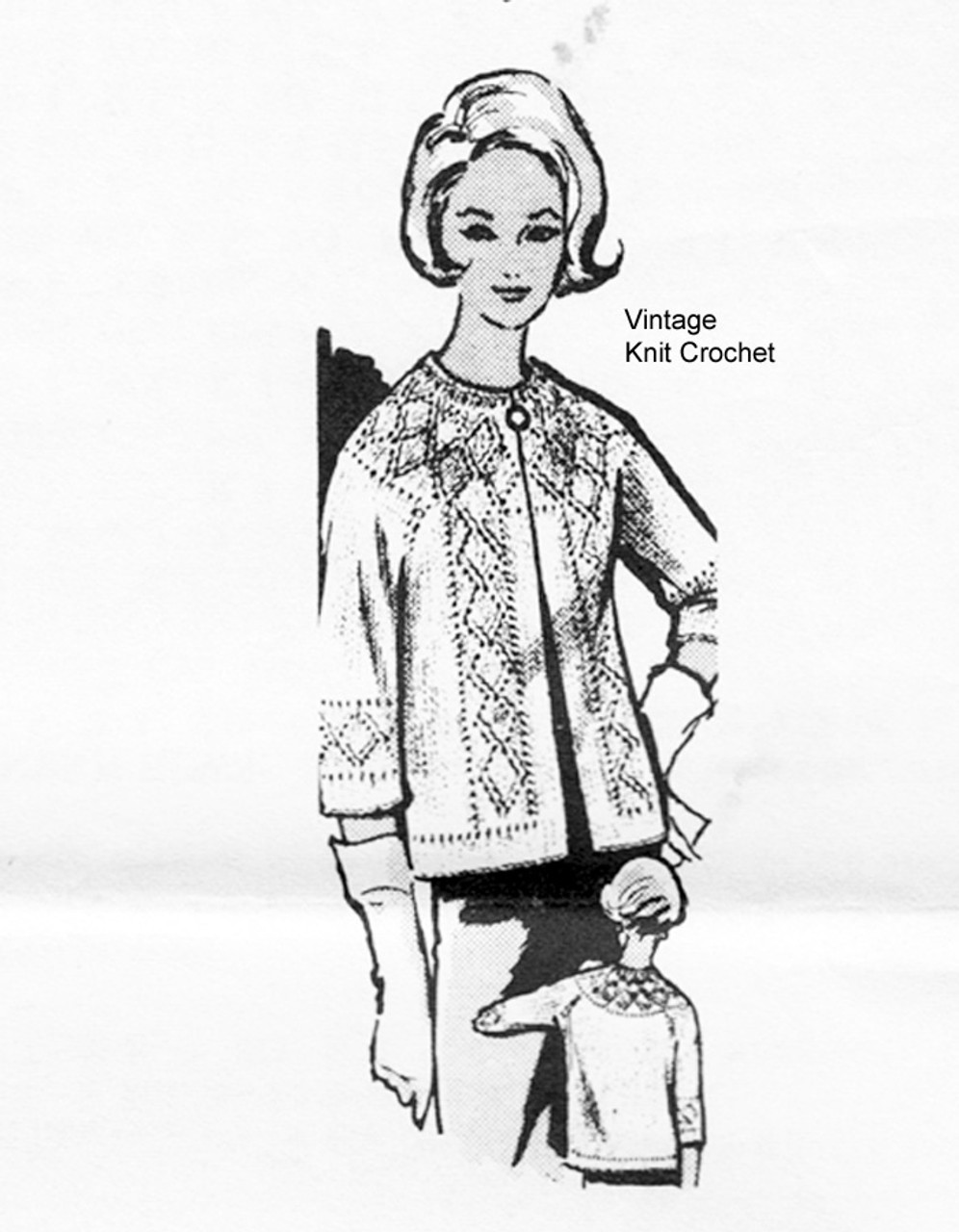 Knitted Cardigan Pattern, Diamond Yoke, Laura Wheeler 833