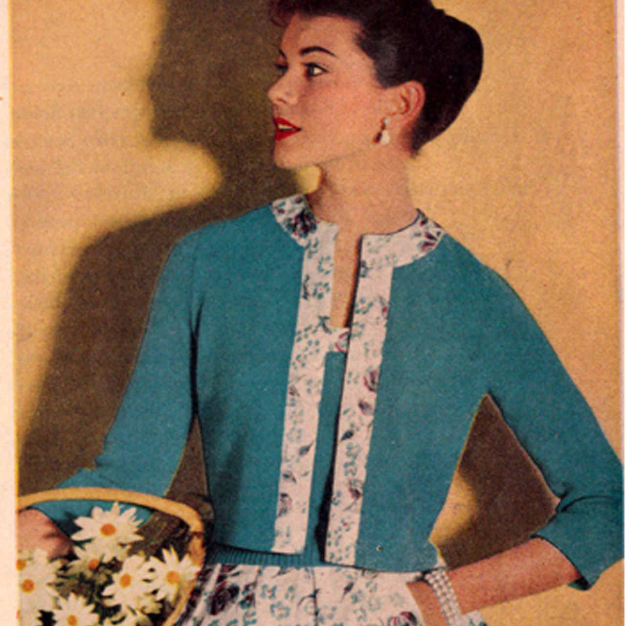 Knitted Open Front Jacket Pattern with Fabric Trim