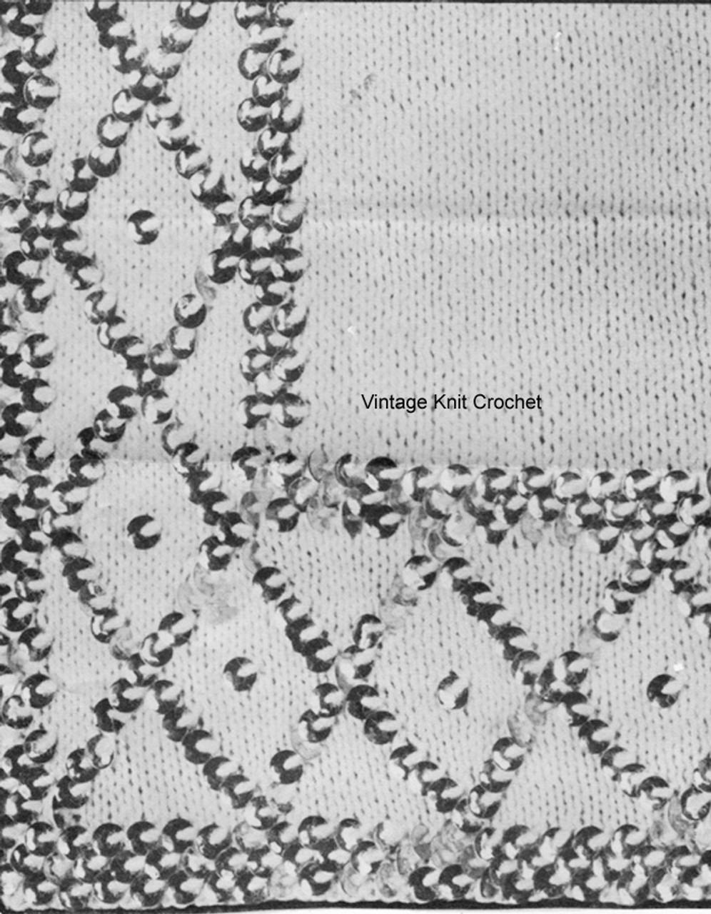 Knitted Sequin Diamond Motif for Jacket, Laura Wheeler 782