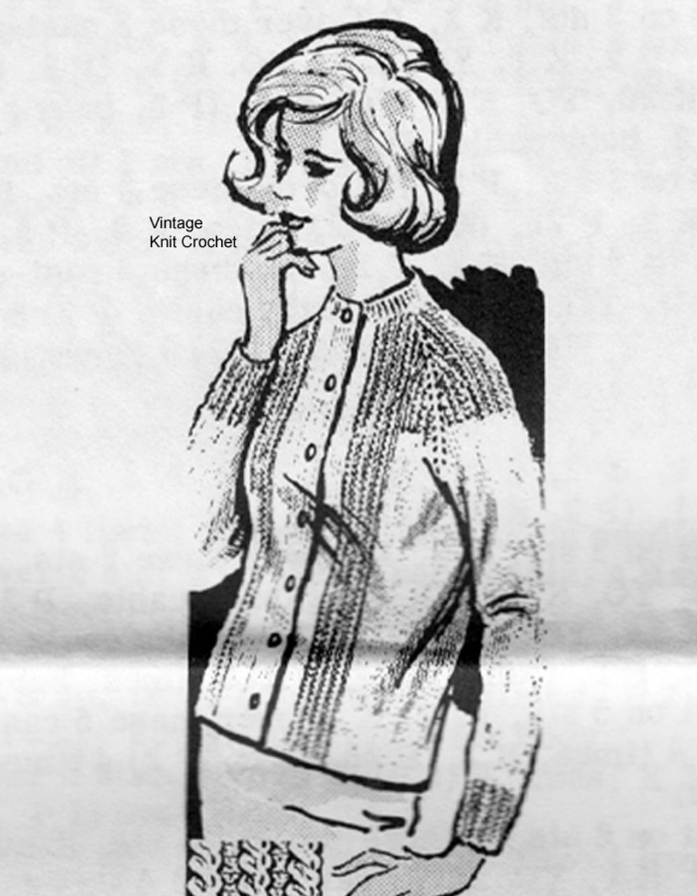 Mail Order Cable Cardigan Knitting Pattern, Design 649