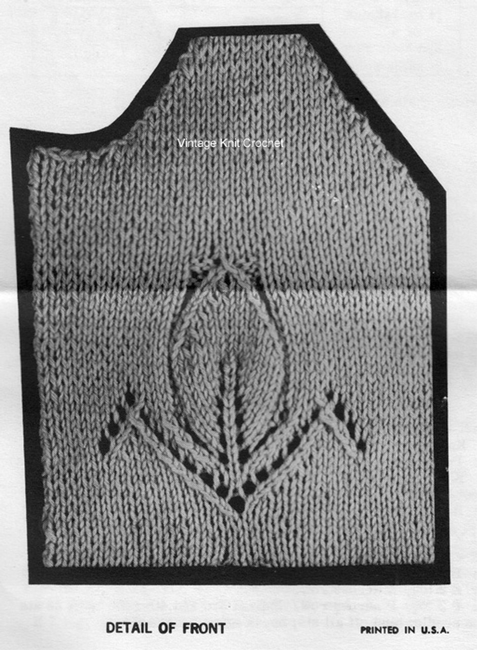 Knitted Leaf Motif for Jacket Pattern Design 851