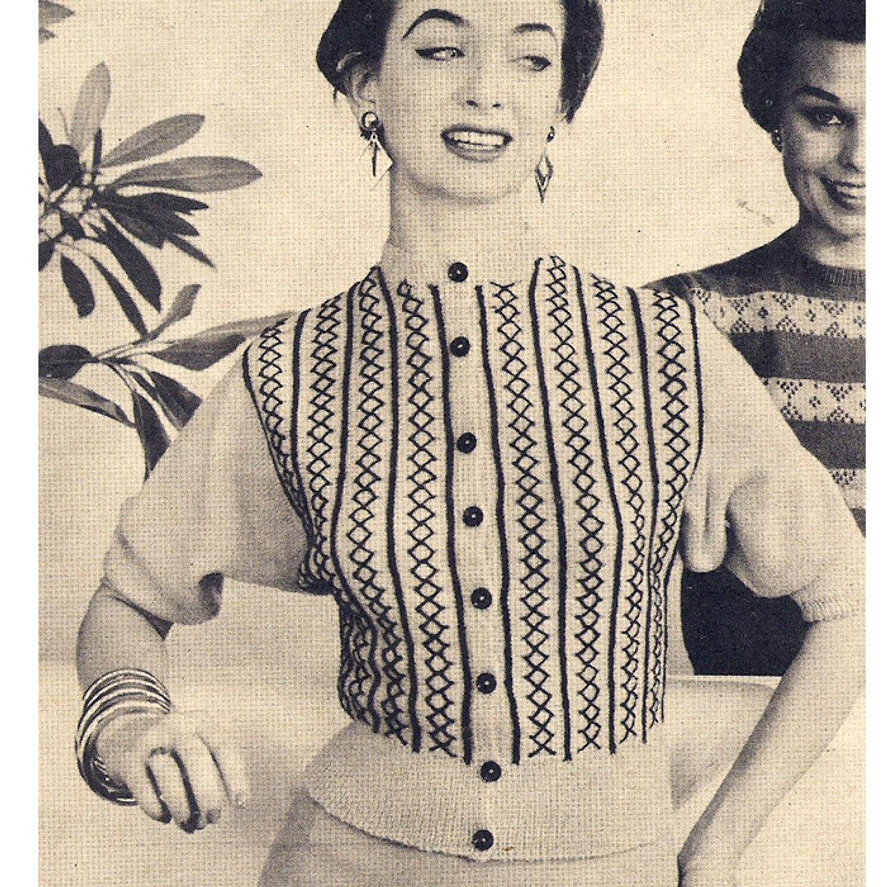 Vintage Batwing Knitted Jacket Pattern, Front Buttoned