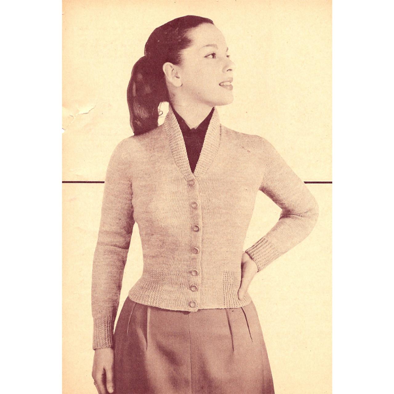V-Neck Knitted Cardigan Pattern, Vintage 1950s