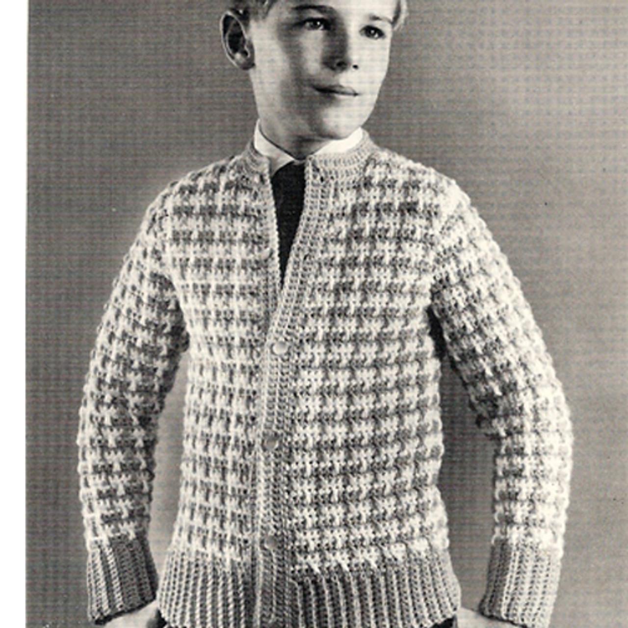 Checked V-Neck Boys Jacket Pattern