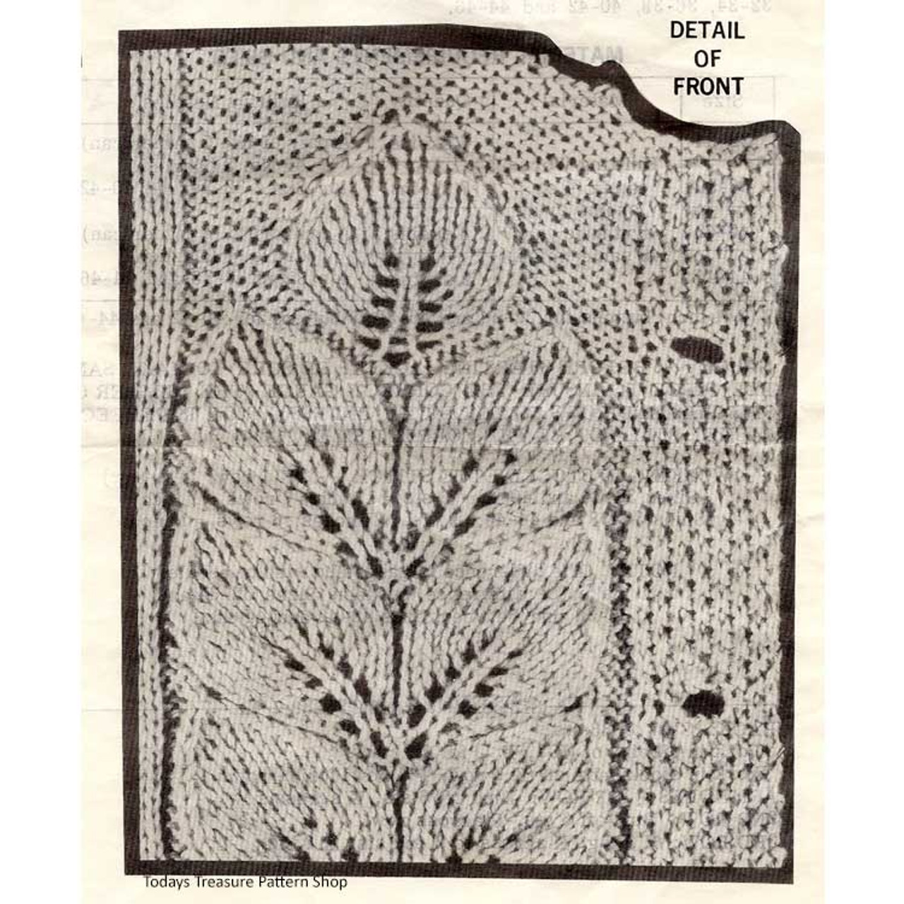 Leaf Motif on Knitted Cardigan Design 511