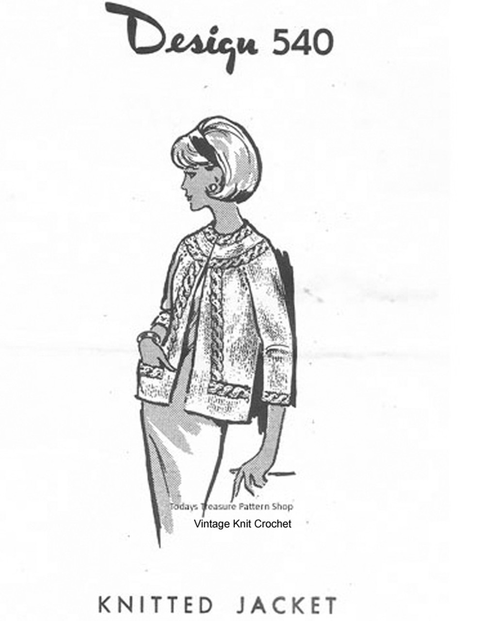 Womans Knitted Jacket Pattern, Cable Trim, mail Order 540