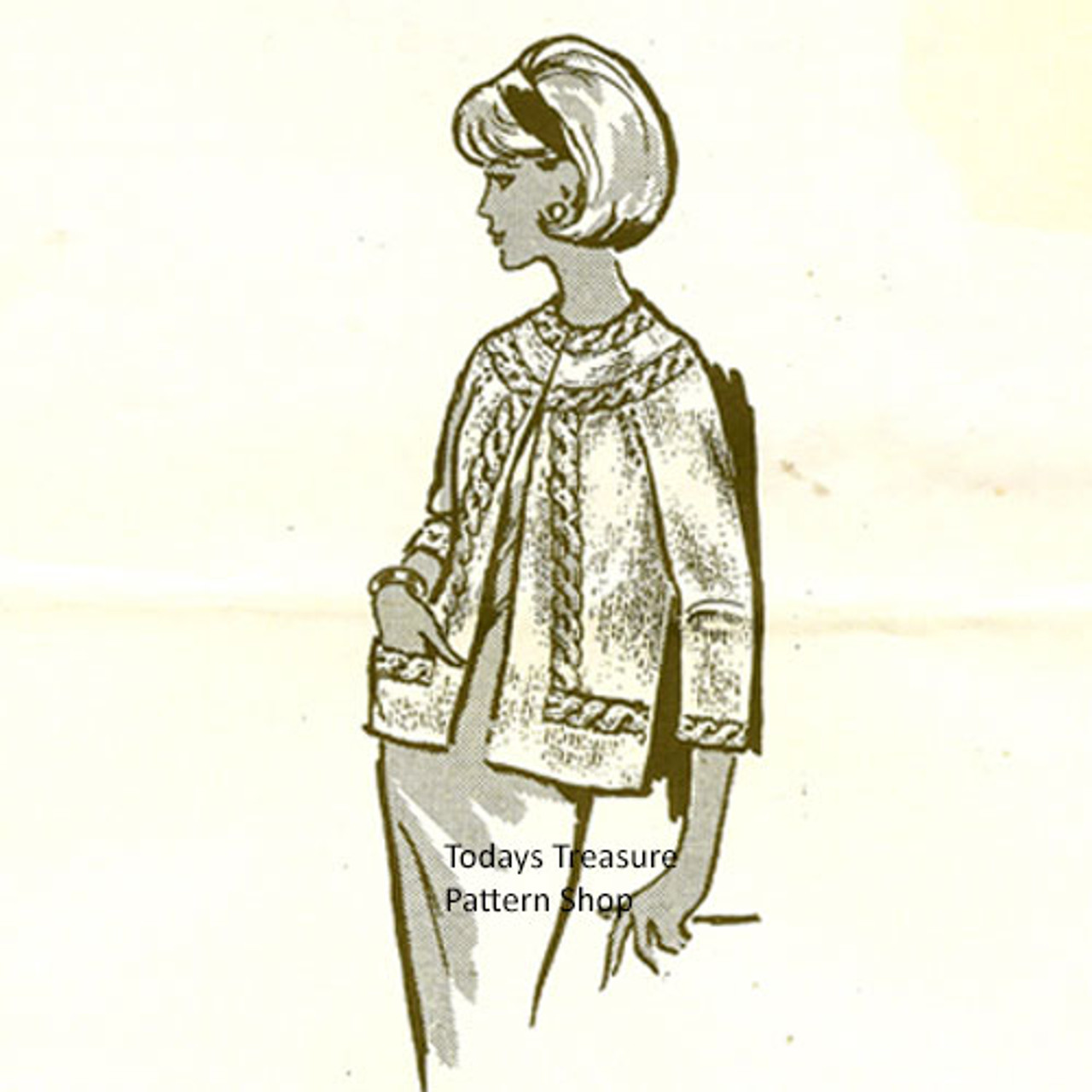 Cable Trimmed Jacket Knitting Pattern, Design 540