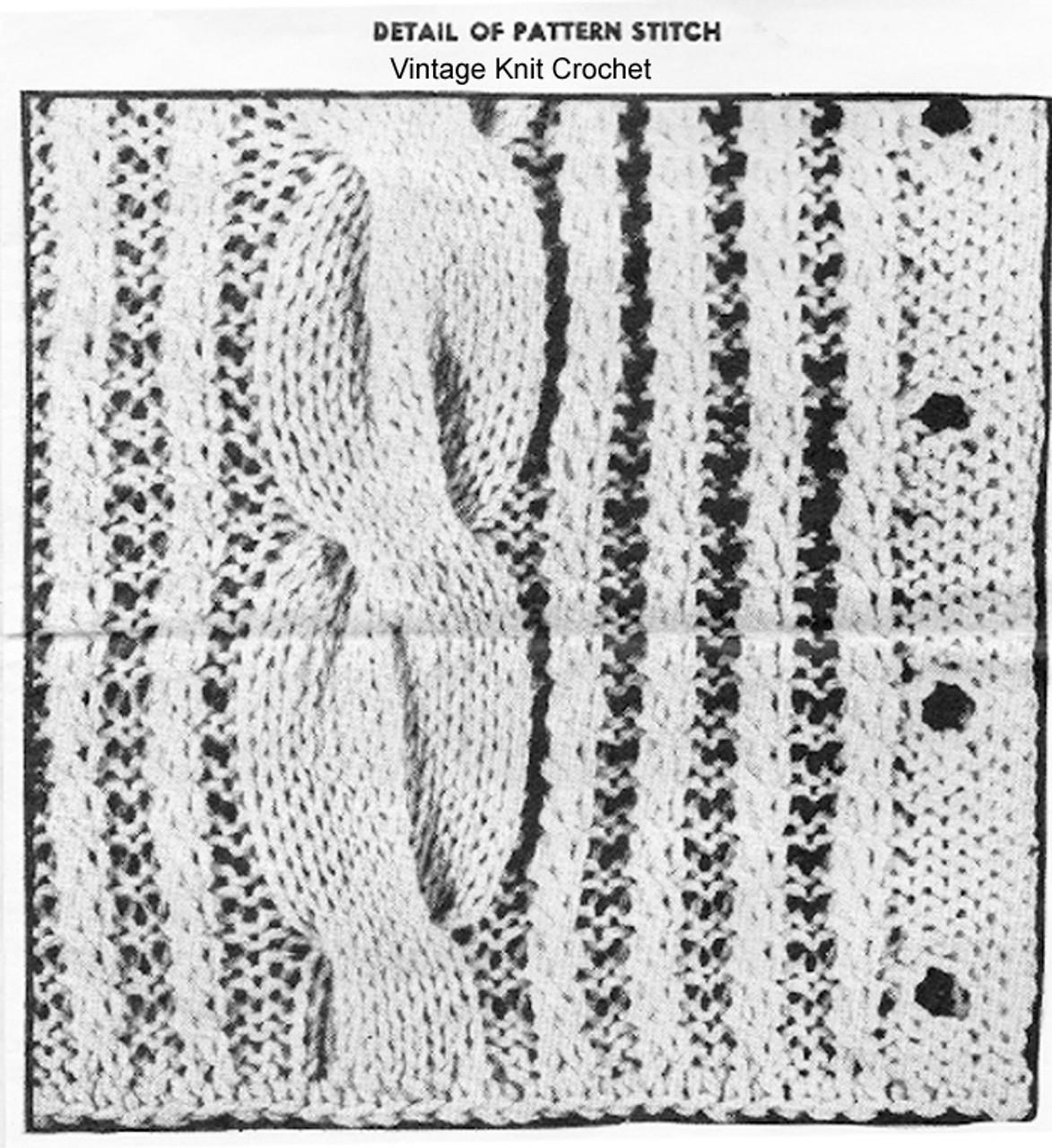 Cable jacket pattern stitch illustration for Design 825