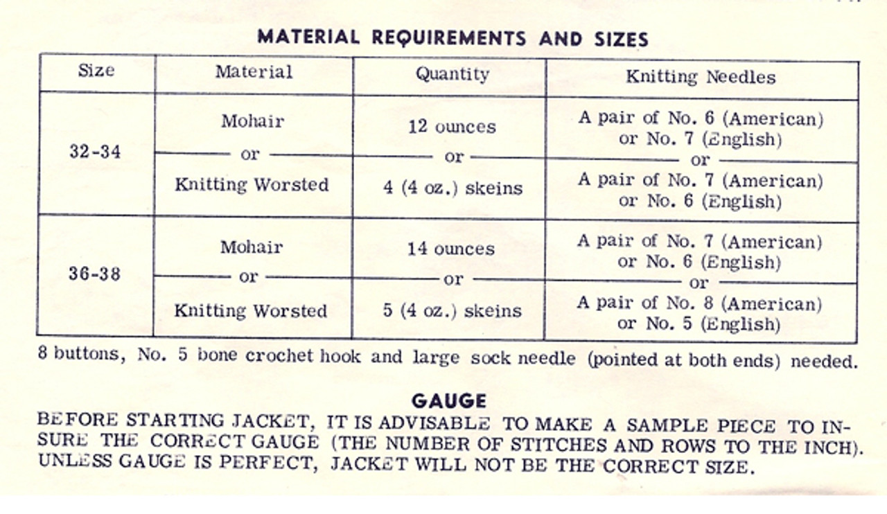Knitting Worsted Requirements for Jacket