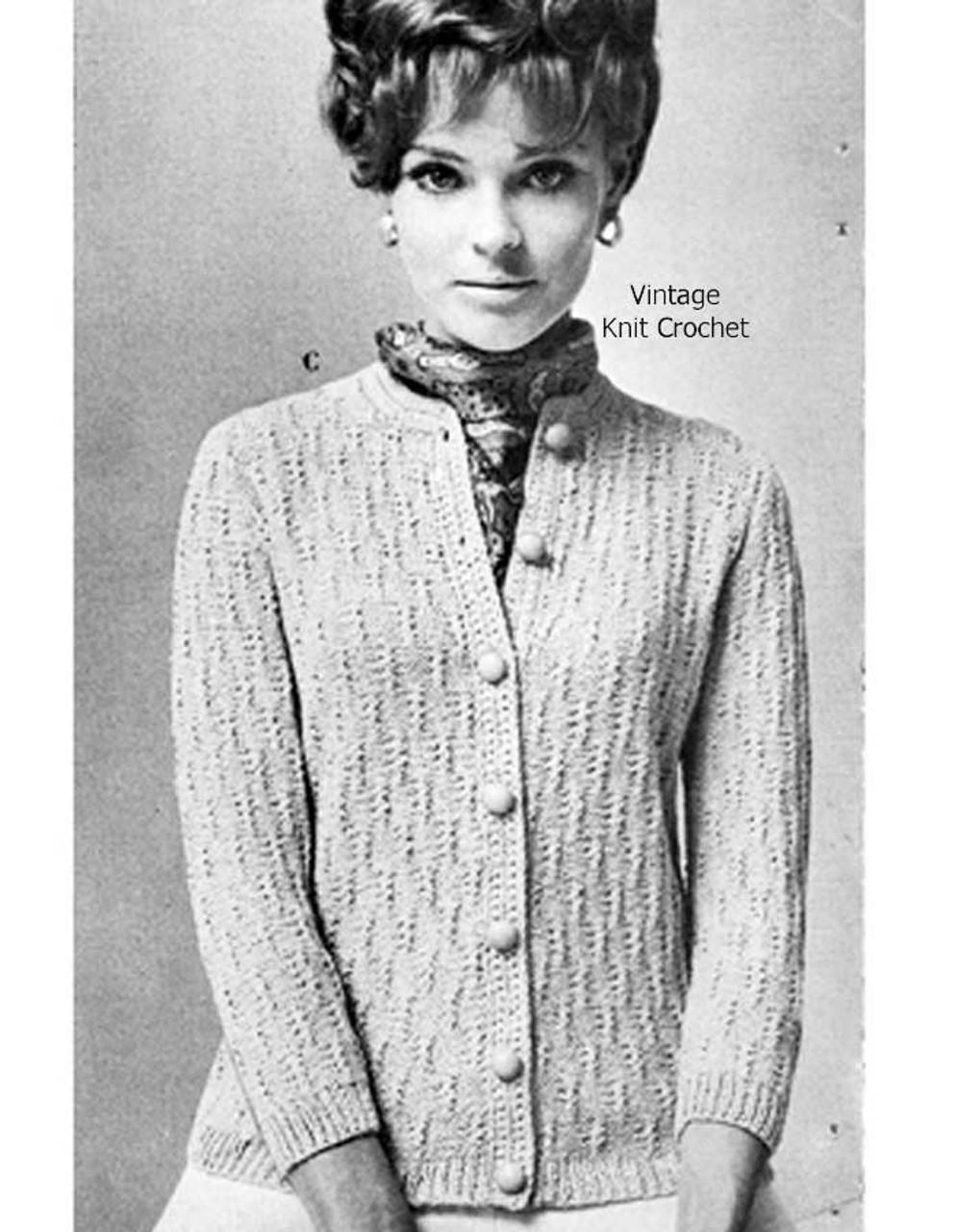 Cross Stitch Cardigan Knitting Pattern, Vintage 1950s