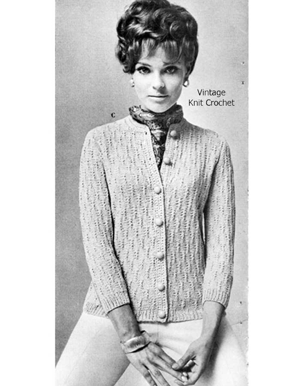 Vintage Knitted Cardigan in Cross Stitch