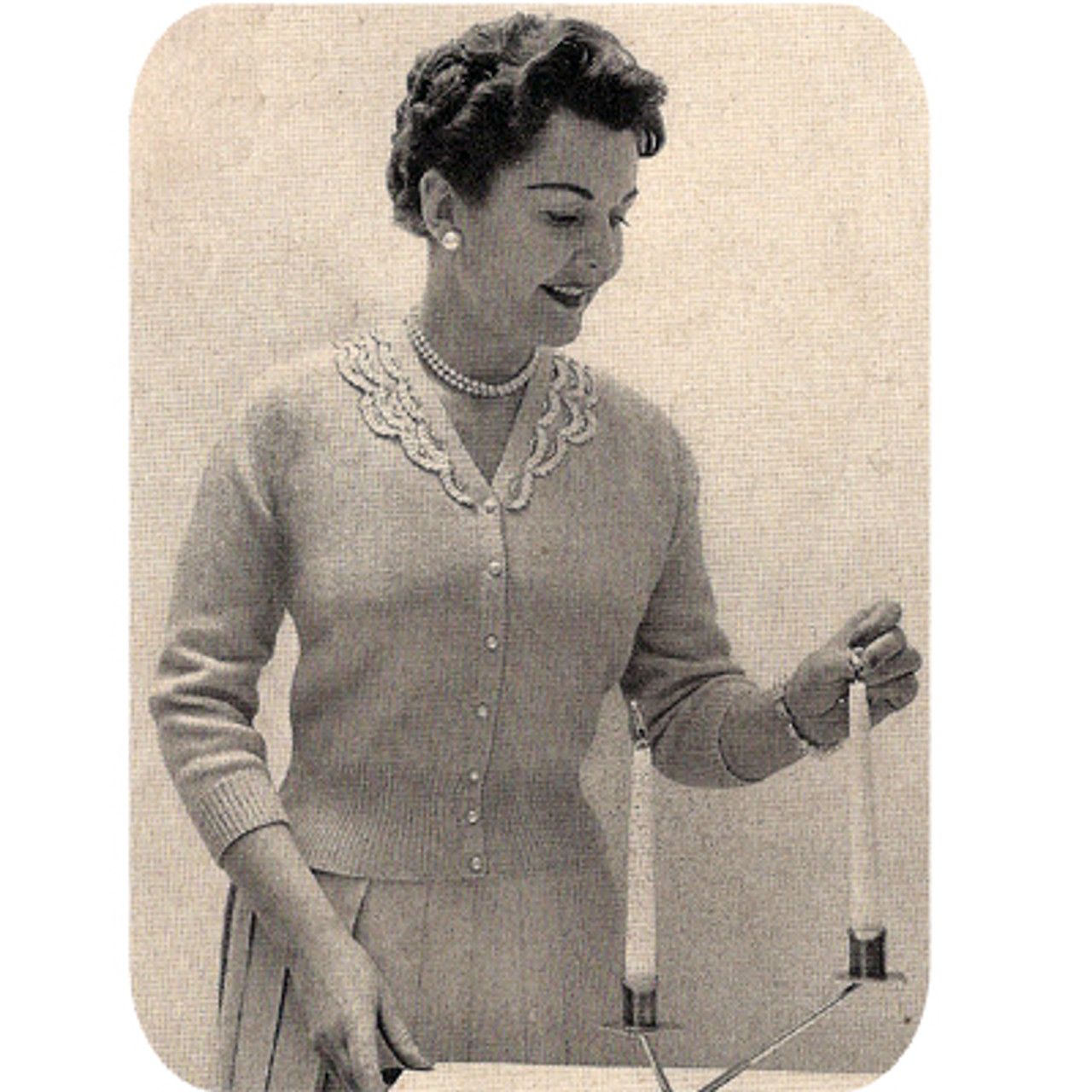 Knitted Long Sleeve Lace Trimmed Blouse Pattern