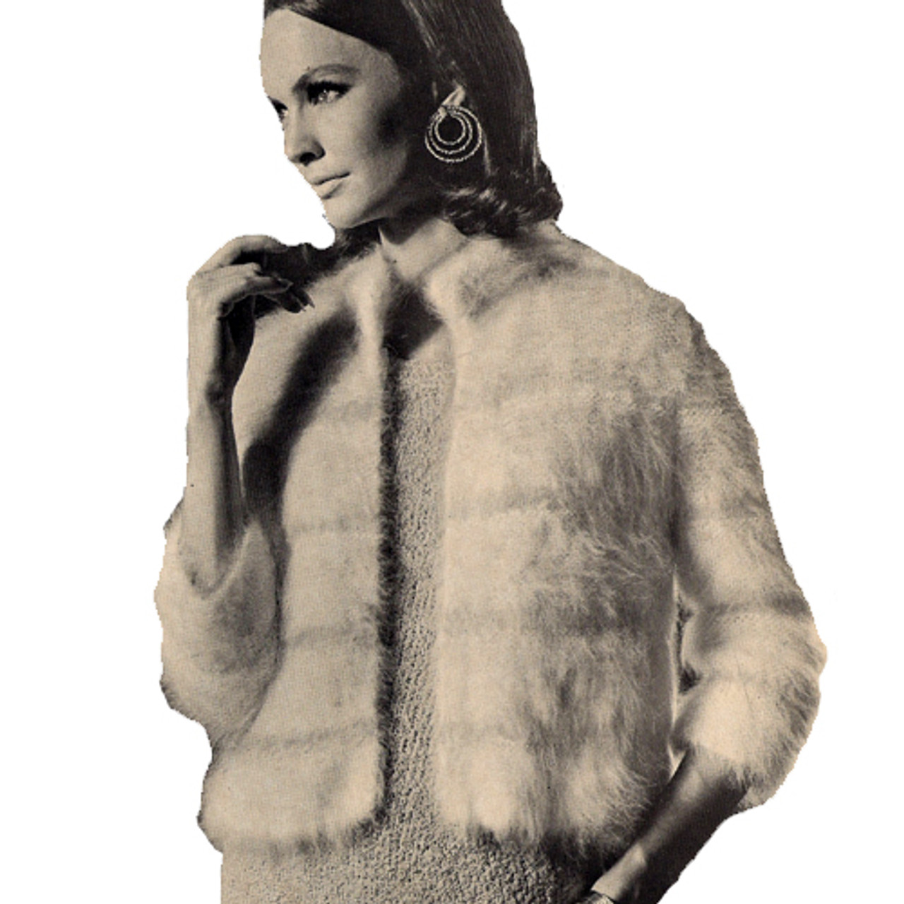 Knitted Angora Jacket Pattern, Hip Length with Open Front