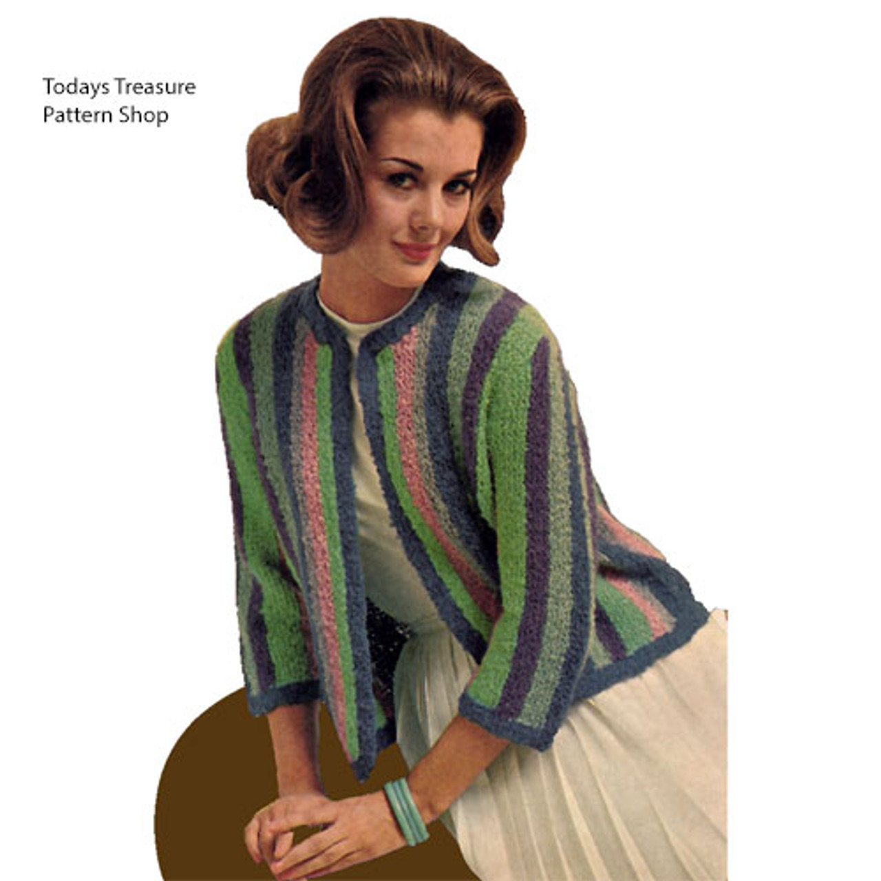 Knit Cardigan with Striped Bands