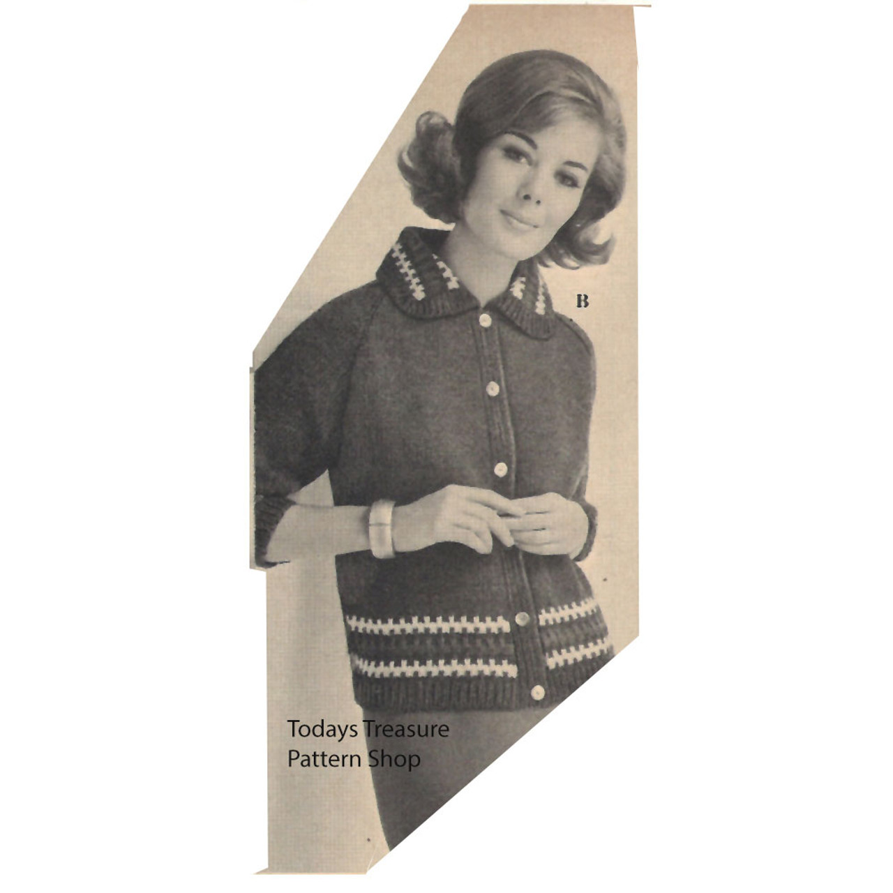 Knitted Cardigan Pattern with Contrast Border Trim