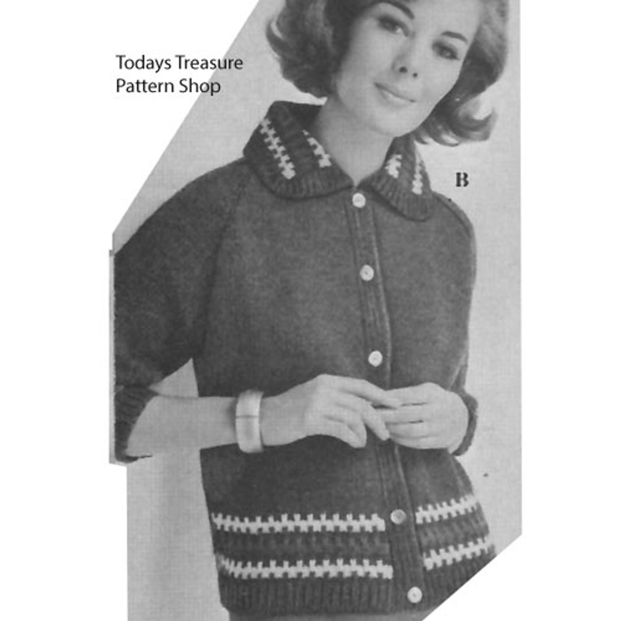 Vintage Knitting Pattern for Cardigan with contrast borders