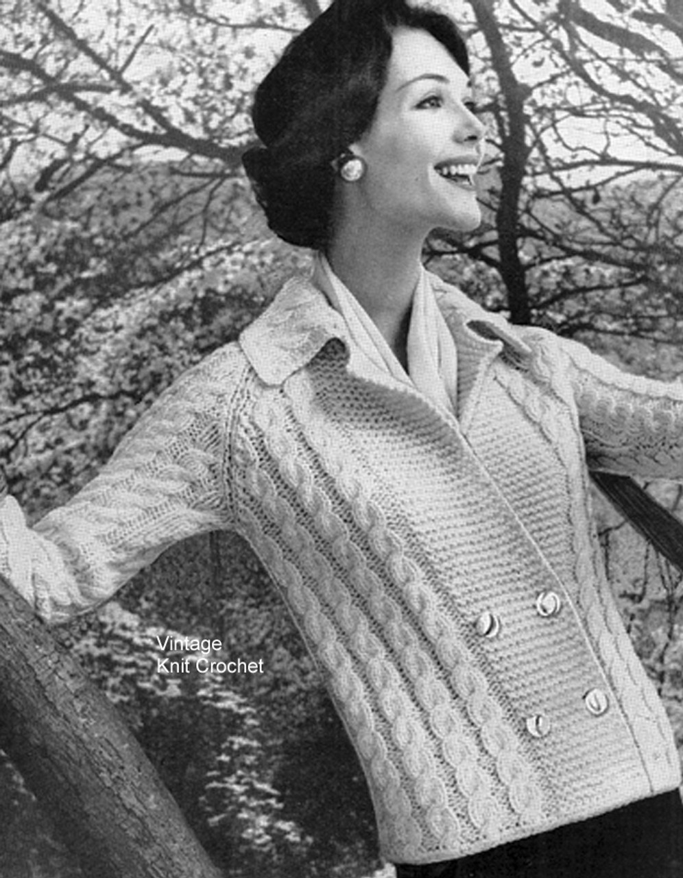 Double Breasted Knitted Cable Cardigan Pattern