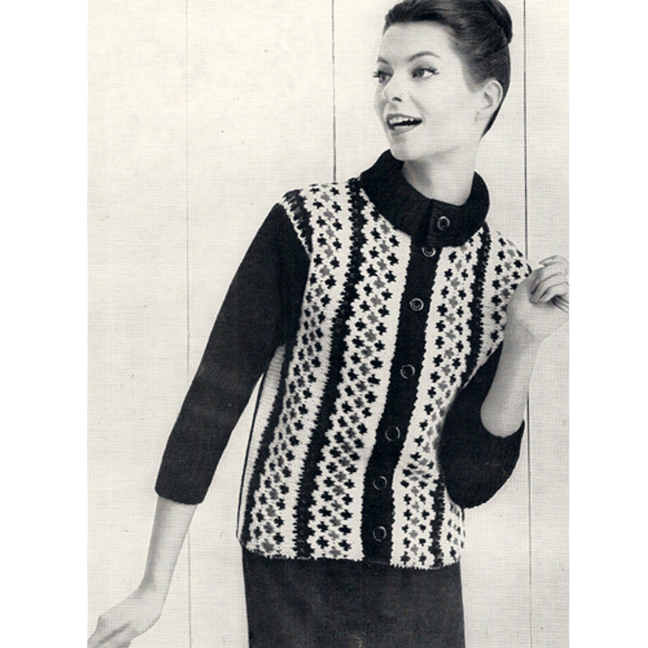Knitted Fair Isle Jacket pattern, Vintage 1960s