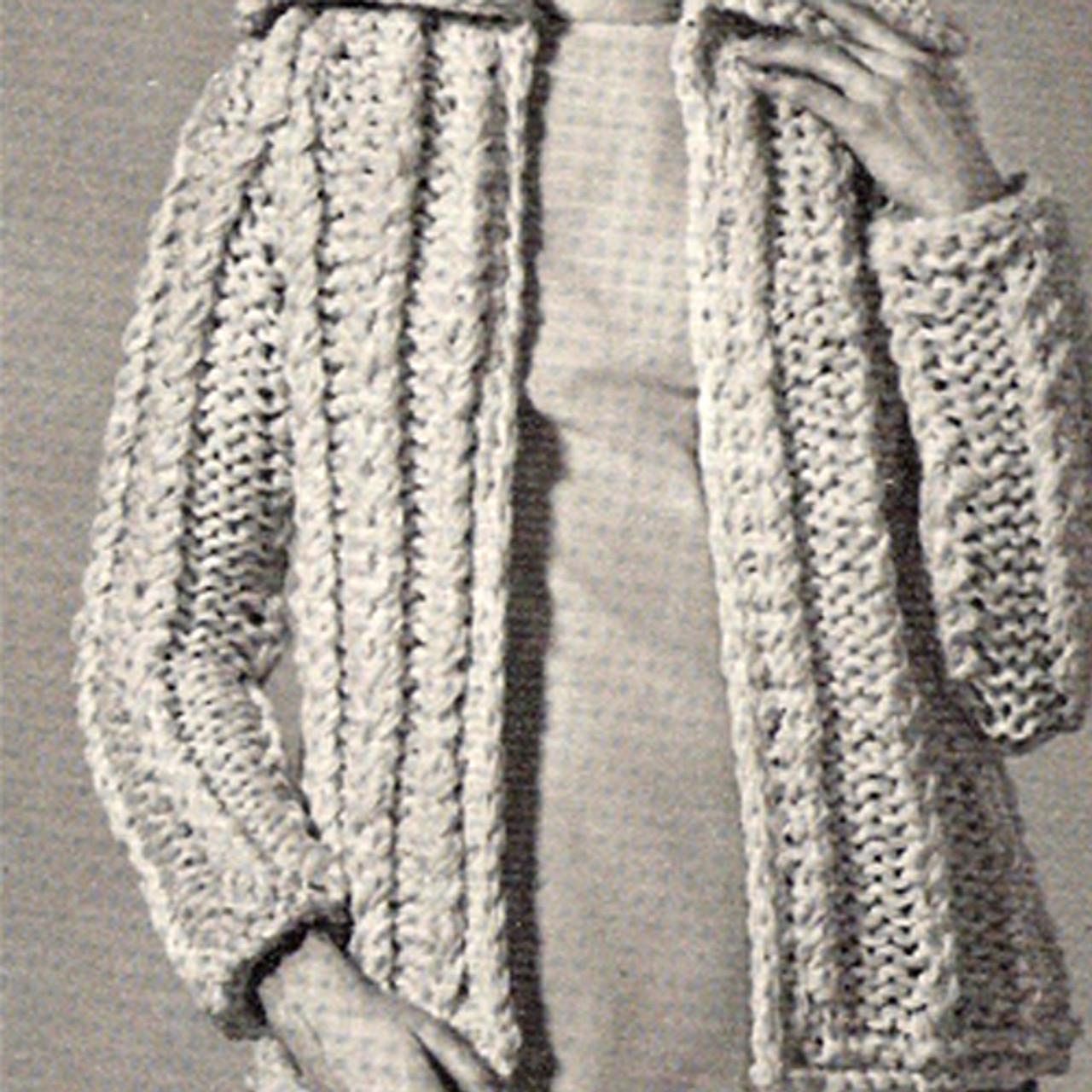 Bulky Knit Cardigan Pattern on Big Needles