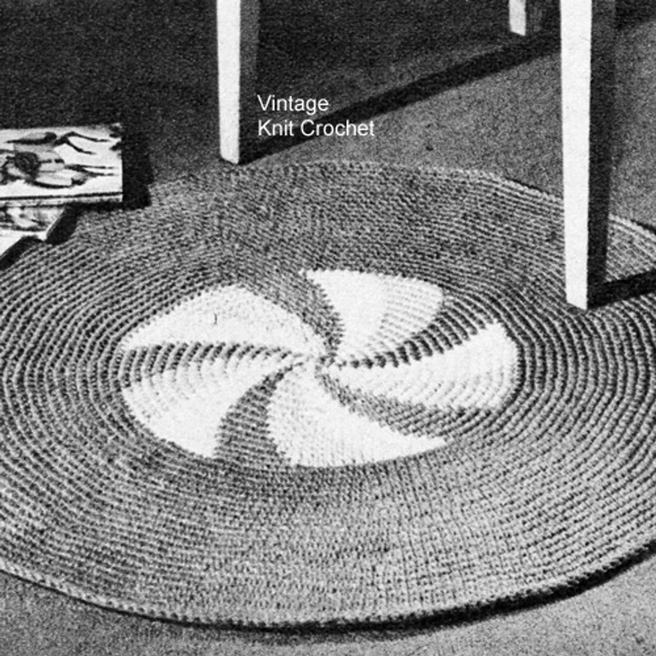 Crocheted Round Pinwheel Rug Pattern