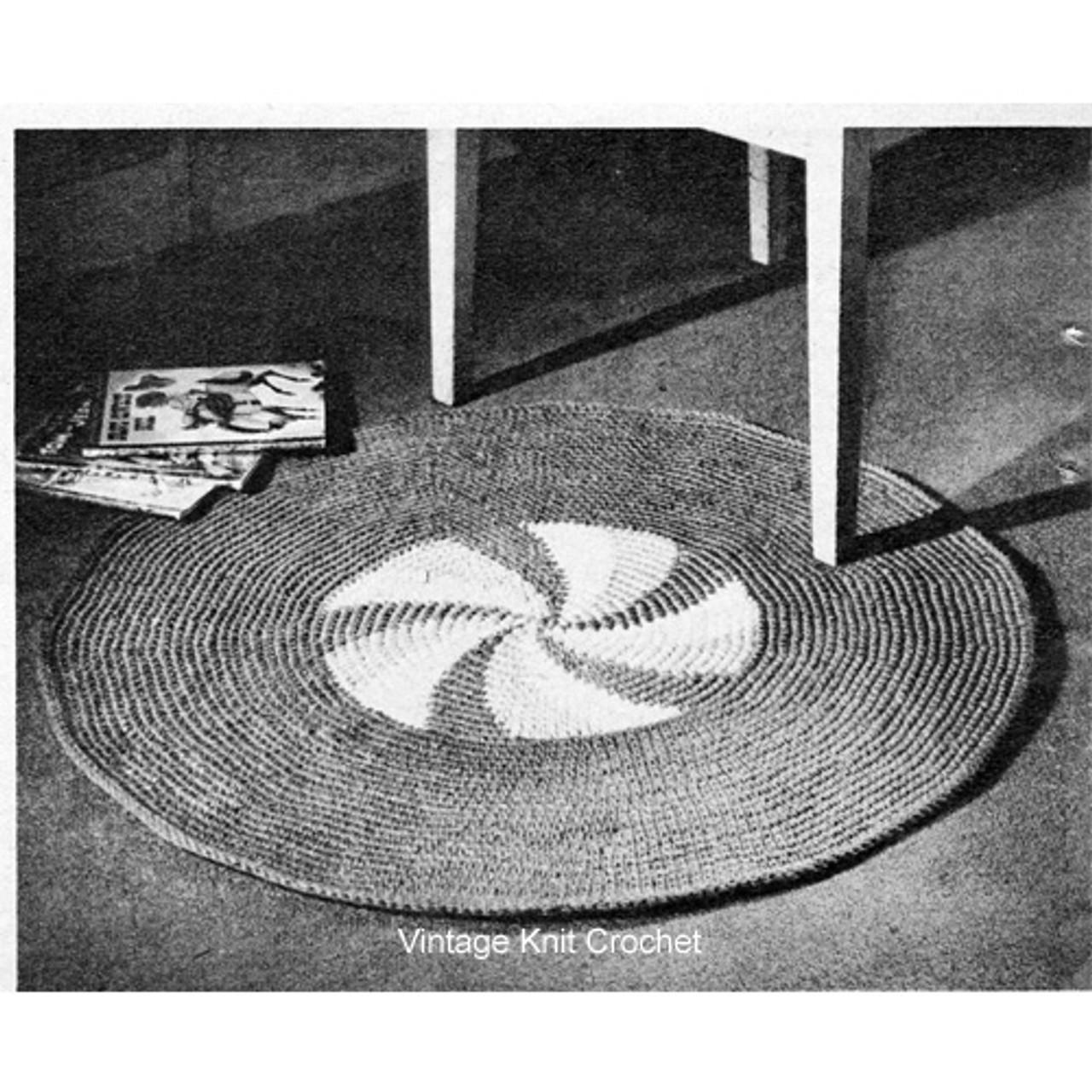 Vintage Crochet Round Rug Pattern, Pinwheel Motif