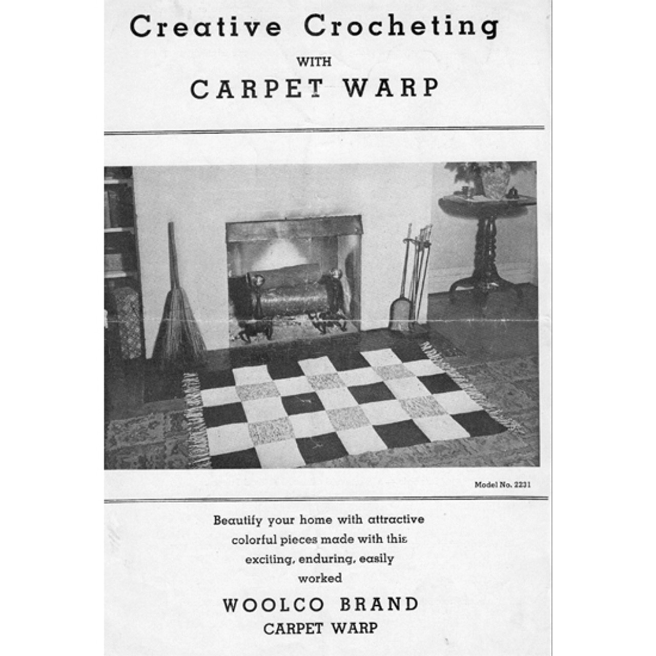 Crochet Checkerboard Rug Pattern in Carpet Warp