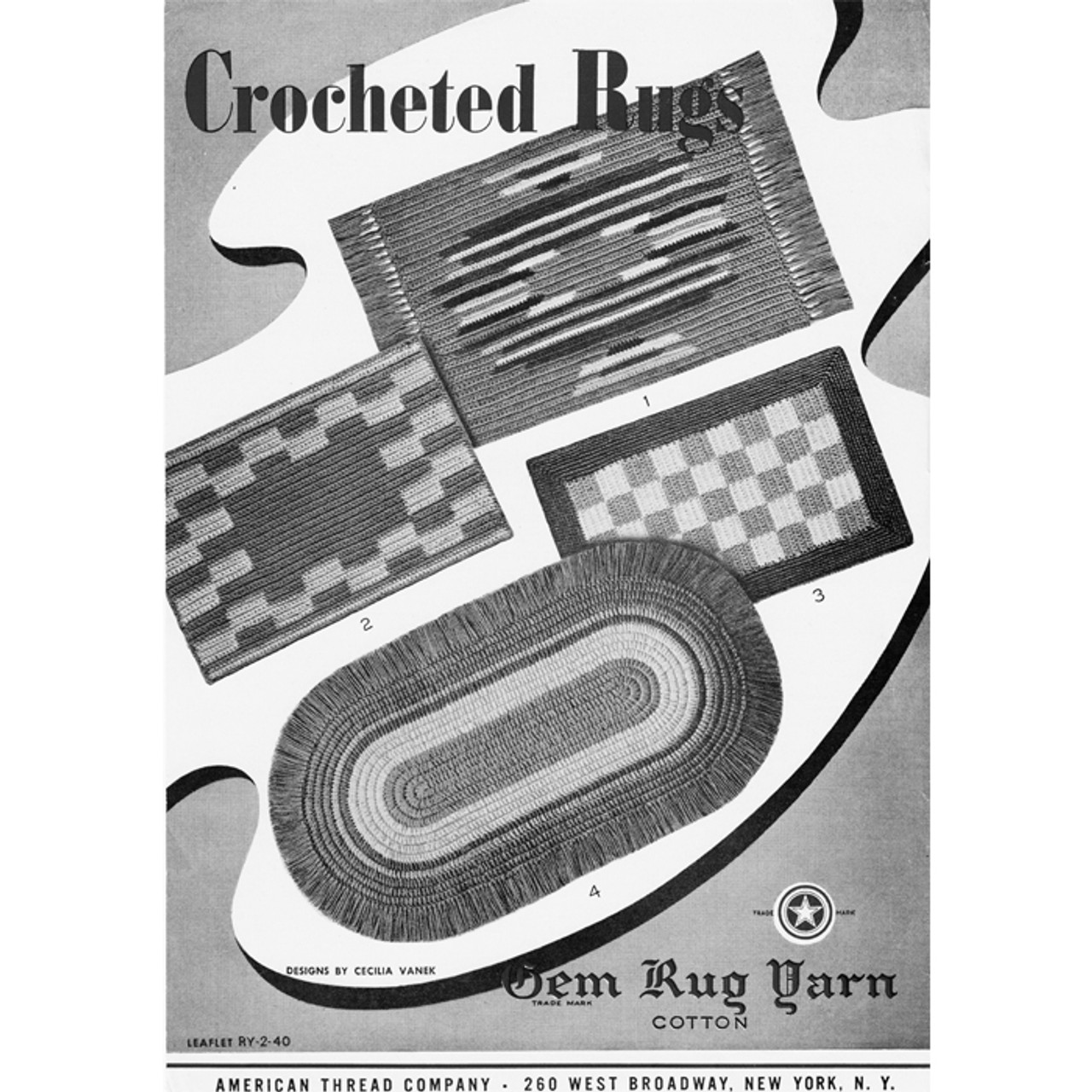 Colorful Oval Crochet Rug pattern, American Thread Leaflet